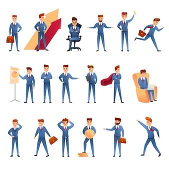 Conjunto de caracteres de empresario, estilo de dibujos animados