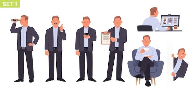 Conjunto de caracteres de empresario gerente de hombre en diferentes poses y situaciones videoconferencia
