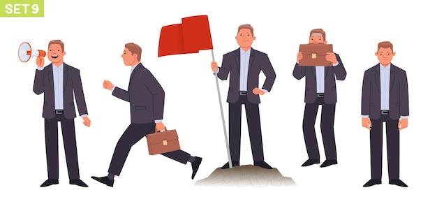 Conjunto de caracteres de empresario gerente de hombre en varias poses y situaciones persona habla por megáfono