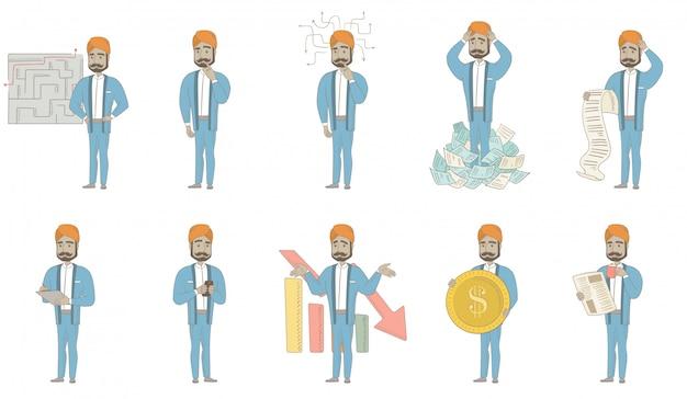 Conjunto de caracteres del empresario indio