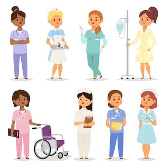 Conjunto de caracteres de enfermeras.