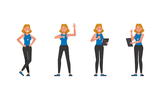 Conjunto de caracteres de entrenador de fitness. mujer vestida con ropa deportiva.