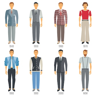 Conjunto de caracteres de evolución de la moda masculina