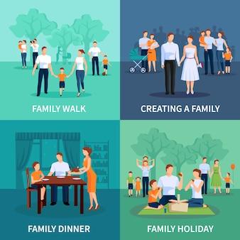 Conjunto de caracteres familiares con cena familiar y vacaciones plana aislada ilustración vectorial