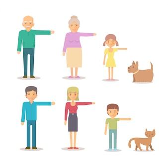 Conjunto de caracteres familiares de mamá, papá, abuela, abuelo, hijo, hija, perro, gato