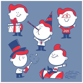 Conjunto de caracteres de feliz año nuevo dibujado a mano