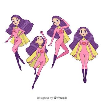 Conjunto de caracteres femeninos de superheroes en estilo de dibujo animado