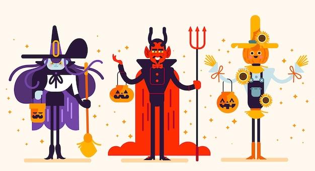 Conjunto de caracteres del festival de halloween