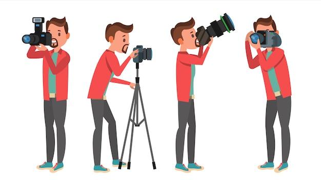 Conjunto de caracteres de fotógrafo profesional