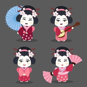 Conjunto de caracteres de geisha con instrumentos, paraguas y abanico
