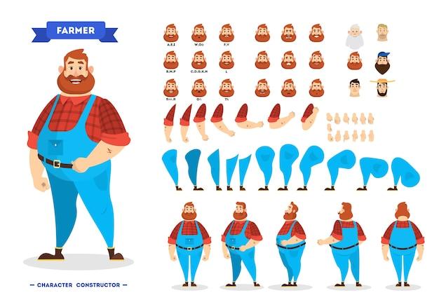 Conjunto de caracteres de granjero masculino para la animación.
