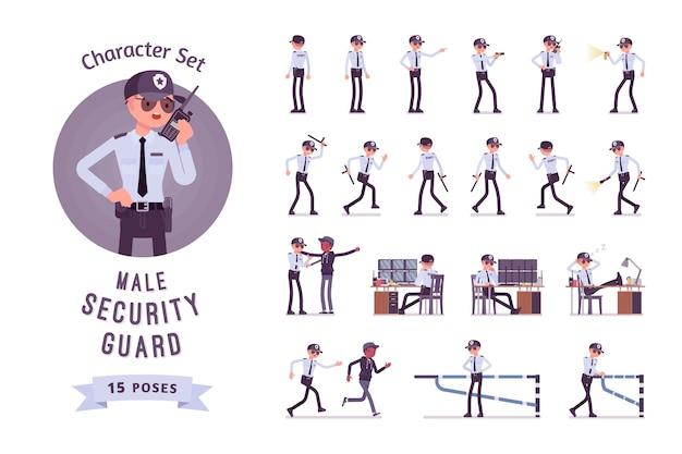 Conjunto de caracteres de guardia de seguridad masculino