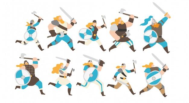 Conjunto de caracteres de guerreros vikingos.