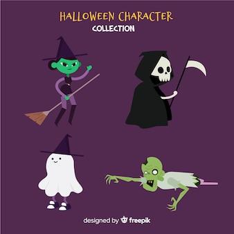 Conjunto de caracteres de halloween en estilo de dibujo animado