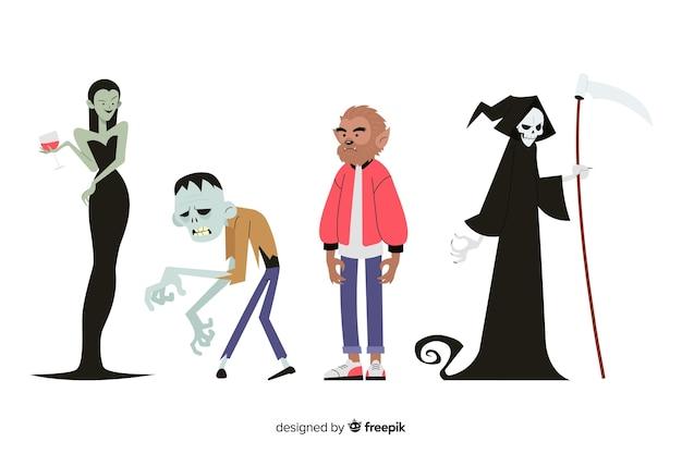 Conjunto de caracteres de halloween plana