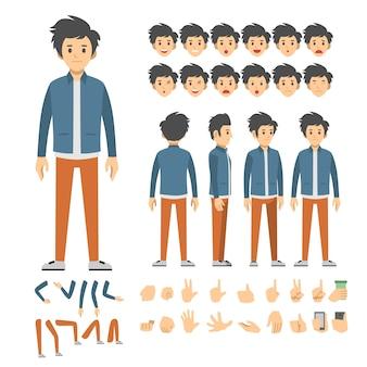 Conjunto de caracteres de hombre casual