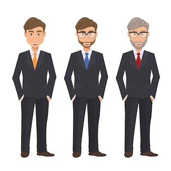 Conjunto de caracteres de hombre de negocios aislados