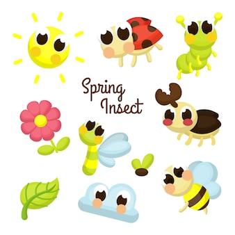Conjunto de caracteres de ilustración de insecto de primavera