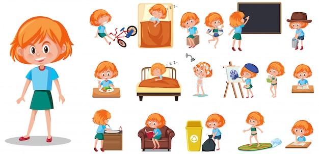 Conjunto de caracteres infantiles con diferentes expresiones en blanco