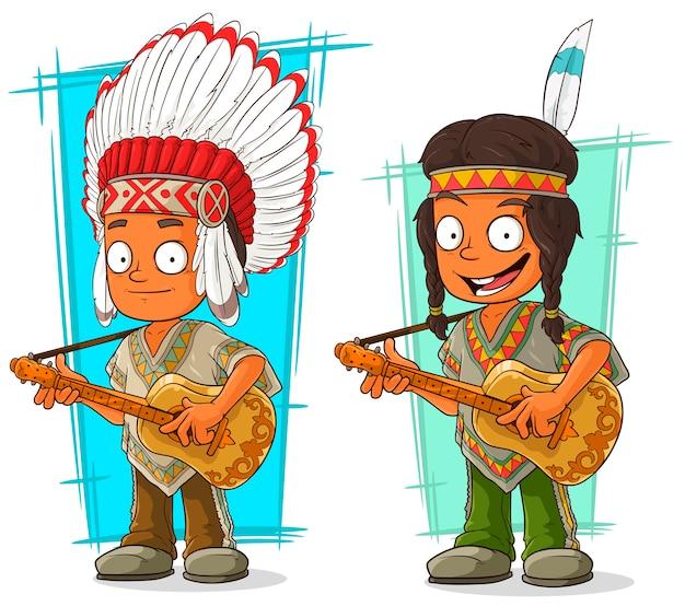 Conjunto de caracteres de jefe y niño indio de dibujos animados