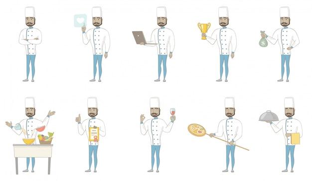 Conjunto de caracteres del joven chef hindú