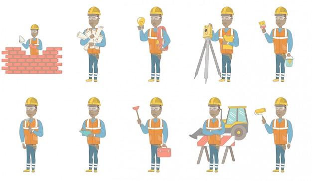 Conjunto de caracteres de joven constructor africano