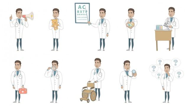 Conjunto de caracteres de joven médico hispano