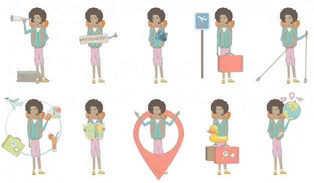 Conjunto de caracteres de joven viajero africano