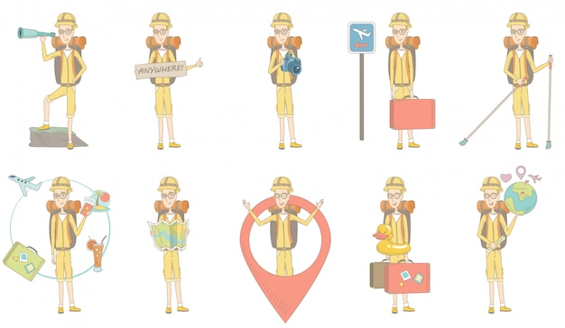 Conjunto de caracteres de joven viajero caucásico