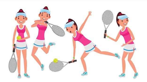 Conjunto de caracteres de jugador de tenis profesional