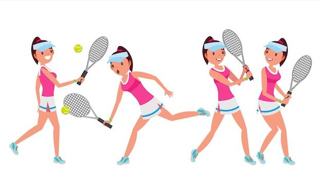 Conjunto de caracteres de jugadora de tenis femenino