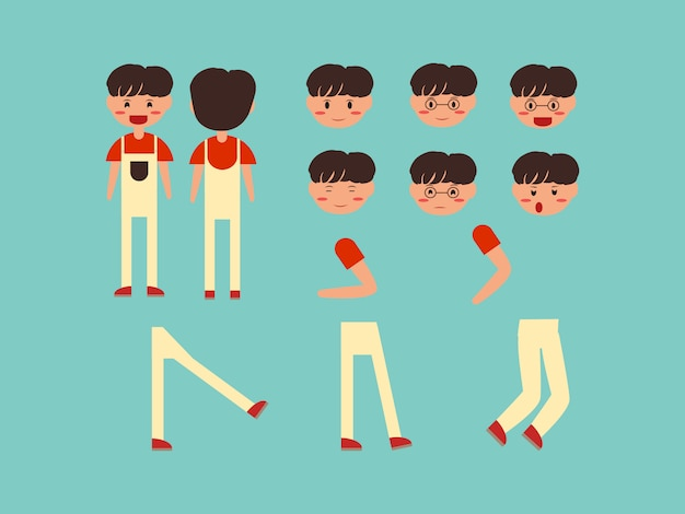 Conjunto de caracteres lindo niños chico masculino