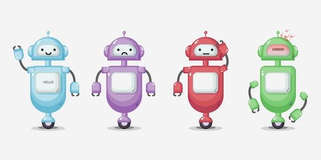 Conjunto de caracteres lindo robot
