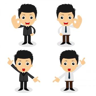 Conjunto de caracteres lindos empresario y trabajador de oficina plantea en varios