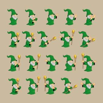 Conjunto de caracteres del mago verde