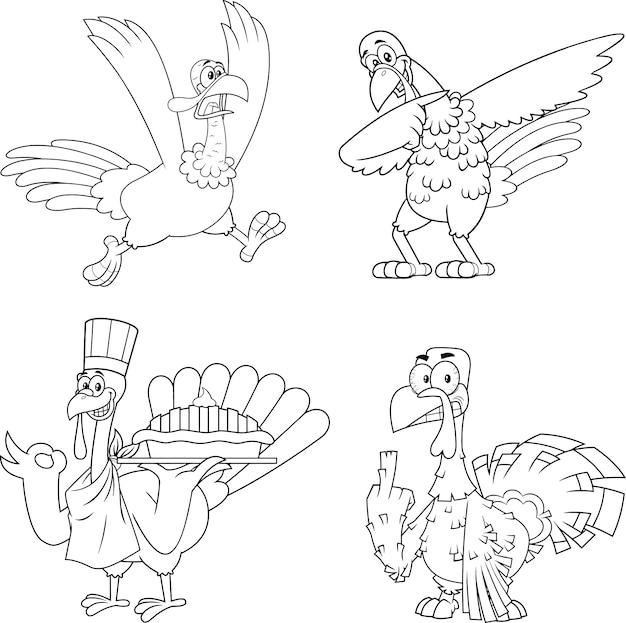 Conjunto de caracteres de mascota de dibujos animados de aves de turquía contorneado. colección aislada sobre fondo blanco