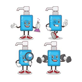 Conjunto de caracteres de mascota de dibujos animados desinfectante de manos