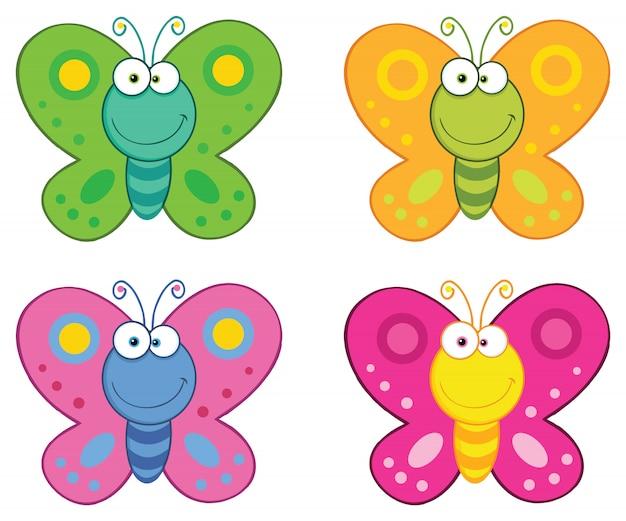 Conjunto de caracteres de mascota de dibujos animados de mariposa.
