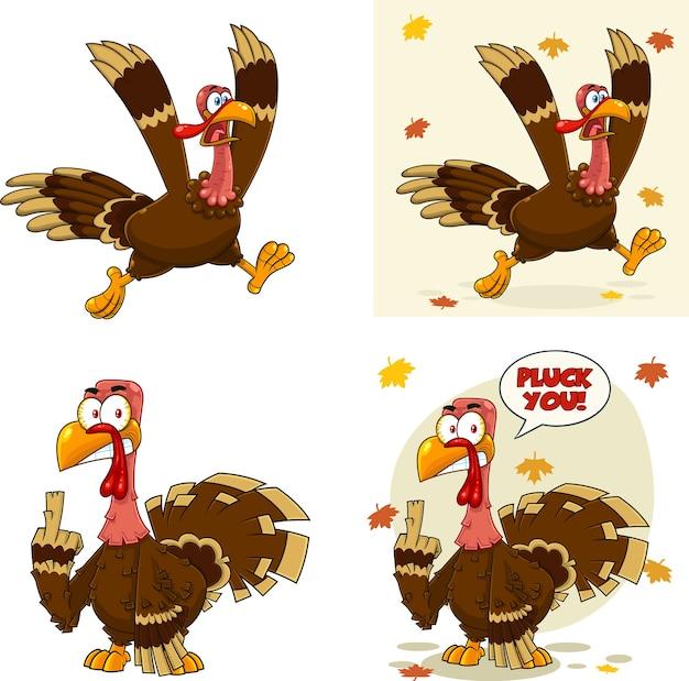 Conjunto de caracteres de mascota de dibujos animados de pájaro de turquía