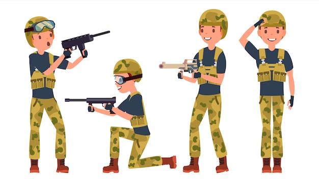 Conjunto de caracteres masculino soldado