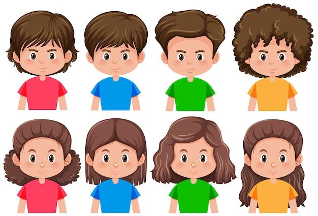 Conjunto de caracteres morenos masculinos y femeninos.