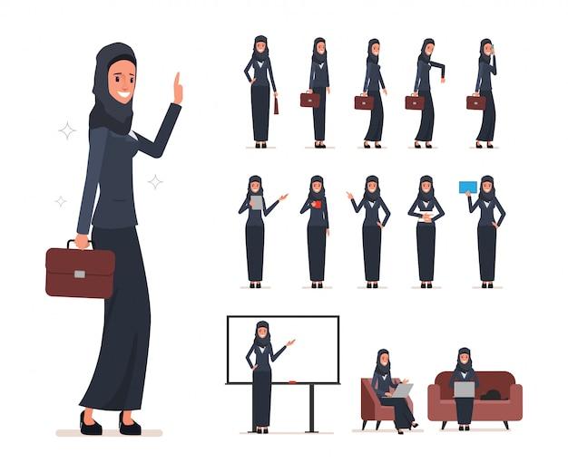 Conjunto de caracteres de la mujer árabe de negocios con hijab.