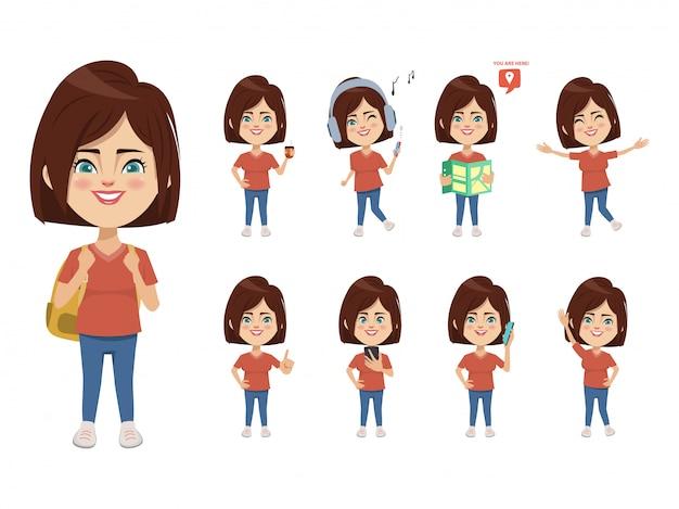 Conjunto de caracteres de mujer joven