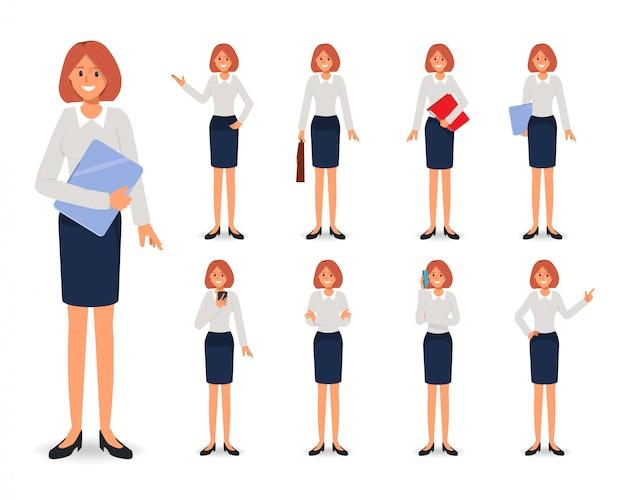 Conjunto de caracteres de mujer de negocios en el trabajo