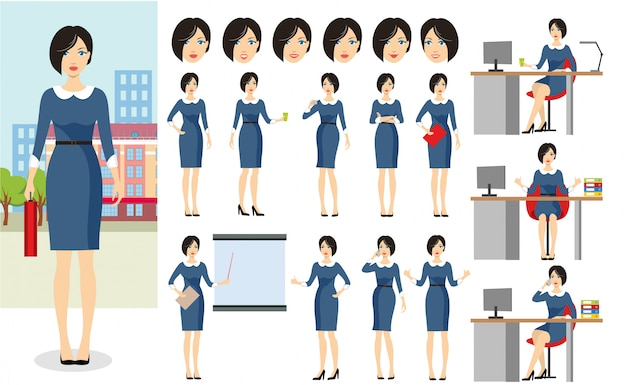 Conjunto de caracteres de mujer de negocios.