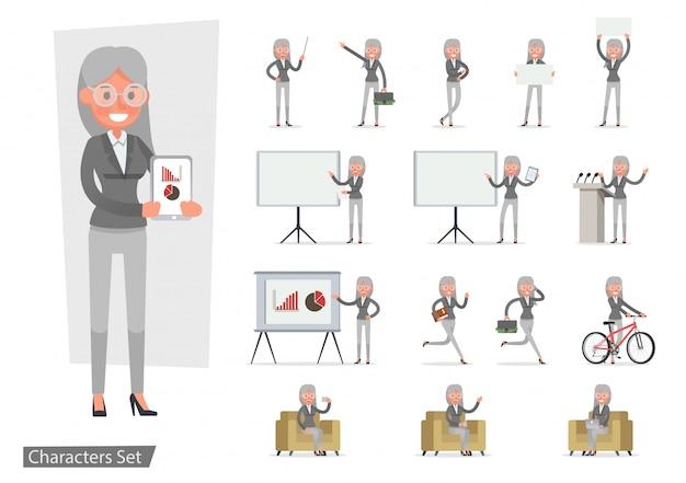 Conjunto de caracteres de mujer de negocios