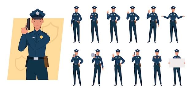 Conjunto de caracteres de mujer policía. diferentes poses y emociones.