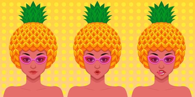 Conjunto de caracteres de mujer con sombrero de piña y accesorios de gafas de verano