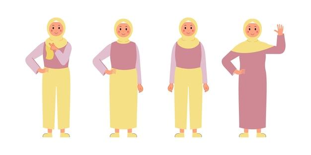 Conjunto de caracteres de mujer usar hijab