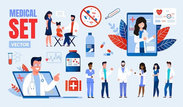 Conjunto de caracteres multinacionales de profesionales de la medicina